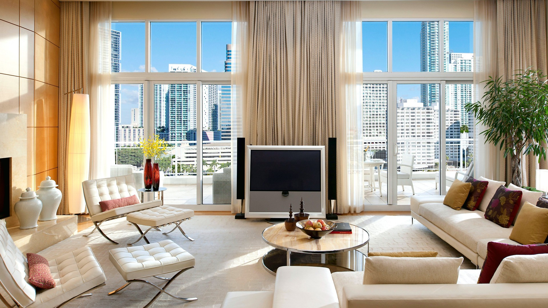 picture: sofa, city, pillows, room, design, living room, interior, windows, table, style, bright, armchairs, view, tv (image)