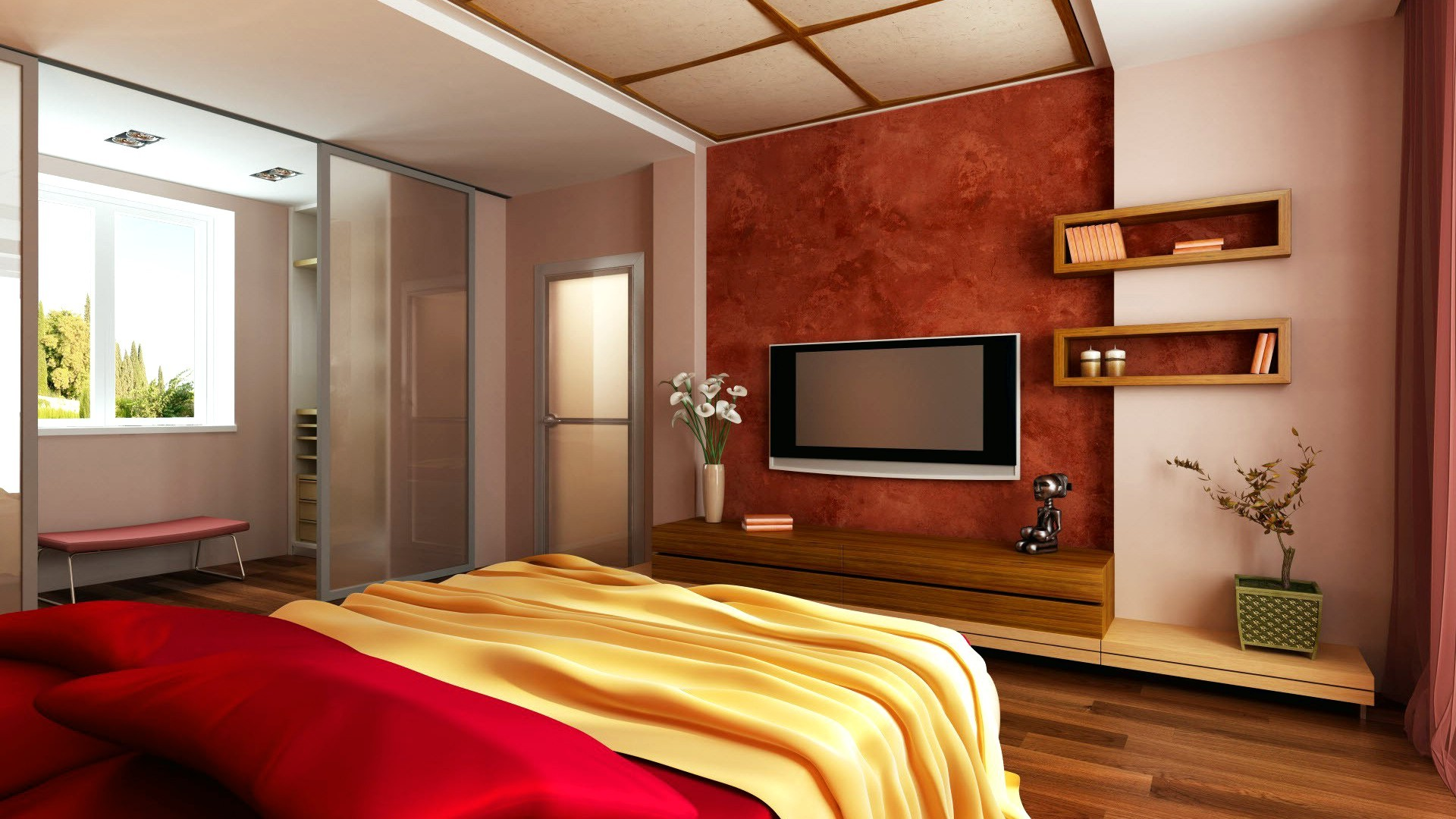 picture: mensole, tv, porta, finestra, camera, letto, camera da letto (image)