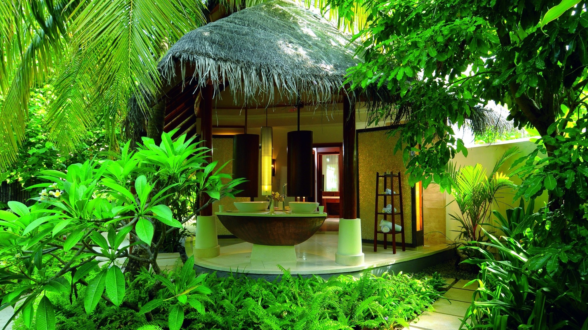 picture: spa, bungalow, summer, hotel, relaxation, jungle (image)