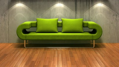 Parquet, Backlight, Wall, Green, Sofa - image