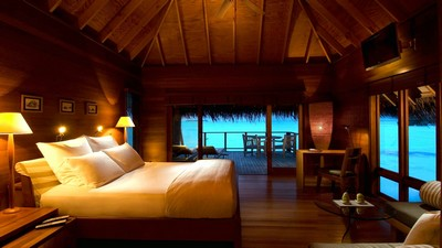 lamps, sea, rest, bed, bungalow, pillows - image