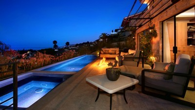 evening, furniture, sofa, pool, house, jacuzzi, fire, chairs, landscape - image