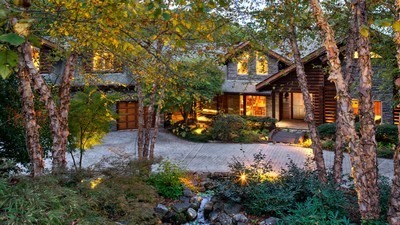 trees, exterior, house, garage, tree, stone, sofa, forest, flower beds - image