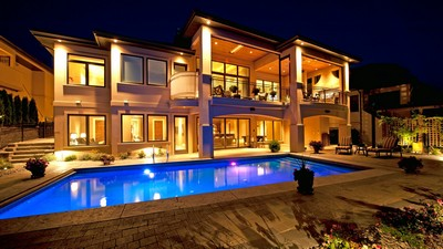 house, home, pool, villa, exterior, house, homes, night, pools, pool, naght
