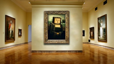 gallery, cubism, paintings, wall, mona lisa - image