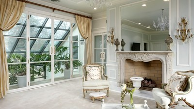 greenhouse, living room, white, design, fireplace, window, armchairs - image