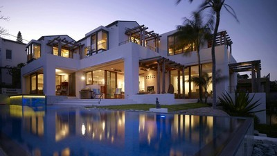 exterior, armchairs, house, villa, house, palm trees, pool, pools, home, pool, furniture, evening, exterior, rooms, villa - image