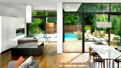 house, trees, house, appliances, interior, modern, chairs, sofa, table, modern, kitchen, furniture, pool, style, pool - image