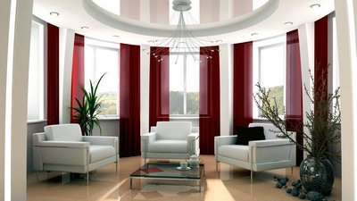 plant, white armchairs, interior, stones, living room, chandelier, windows, design, bright room, red curtains, vase, glass table - image