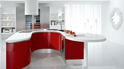 house, style, red, interior, mirror, kitchen, white, apartment, room, design, pears, table - image