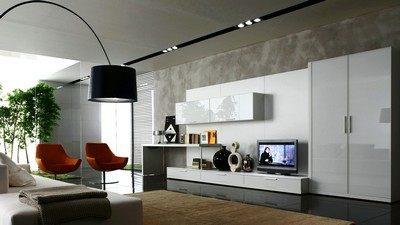style, furniture, interior, cupboard, lamp, armchairs, room, design, white, tv - image