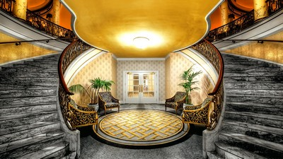 lightening, stairs, flowerpots, marble, columns, doors, carpet, hall, chairs, interior - image
