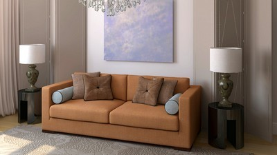 lamps, interior, comfort, room, spaciousness, brown, design, apartment, pillows, sofa, style - image