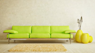 sofa, minimalism, interior, design, green, rug, yellow, room, parquet, vases, style, light - image