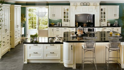 cabinets, doors, chairs, table, kitchen, sets, interior, chandelier