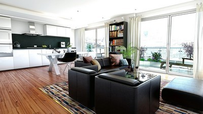 city apartment, interior, style, living room, balcony, city, design - image