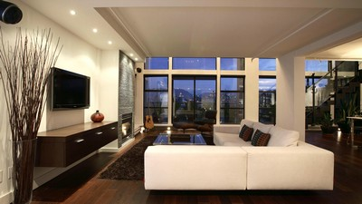 living space, two-level penthouse, interior, city, style, design, balcony - image