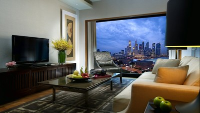 city, Singapore, style, lamp, TV, painting, room, pillows, table, apples, view, design, sofa, window, interior, armchair - image