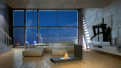 Bio Fireplace in Living Room, interior, living room, L-Shape, Loft, loft, style, room, design, luxury repair - image