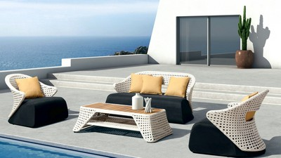 interiör, terrass, stil, pool, design, loungezon - image
