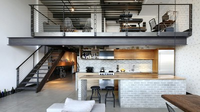 loft, Industrial Loft, style, kitchen, interior, living space, dining room - image