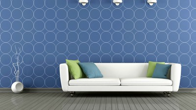 Blue and white modern lounge, blue and white modern living room, interior, interior, stylish design, pillows, pillows, stylish design - image