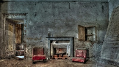 chairs, fireplace, door - image