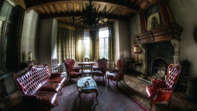 room, fireplace, sofa, cottage, mansion, windows, armchairs, interior, chairs - image