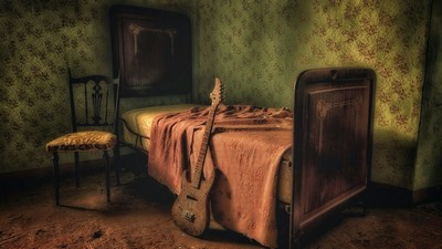 guitar, bed, room - image