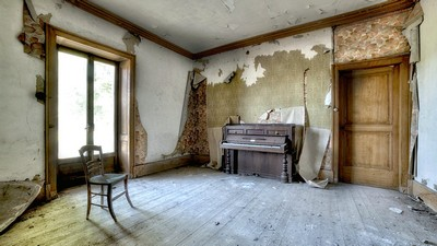 chaise, salle, piano, belle