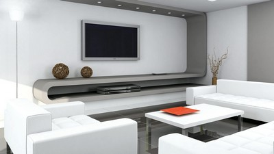 sofa, room, table, armchair, TV, style - image, pic