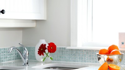 gerberas, faucet, oranges, flowers, kitchen, white, cupboard - image