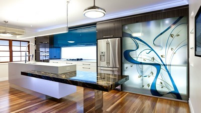 kitchen, refrigerator, light, laminate, metal, interior - image