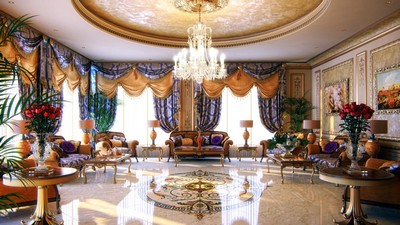 table, luxury, penthouse, room, penthouse, interior, wallpaper, wallpaper, apartment, sofas, chandelier, marble, expensive - image