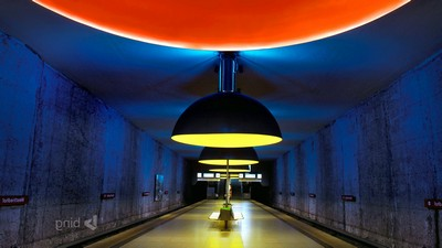 Munich, tunnel, Westfriedhof, bench, lamp, station, subway - image