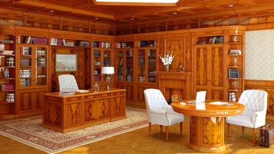 painting, classic, table, interior, cabinet, interior, chairs, computer, books, office, furniture, chair, style - image