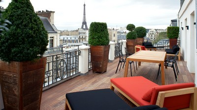 Eiffel Tower, city, terrace, interior, Paris, Paris, furniture - image