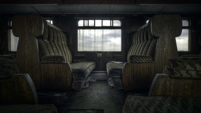 fond, train, chaises - image