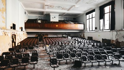 devastation, hall, abandoned, assembly, chairs, windows - image