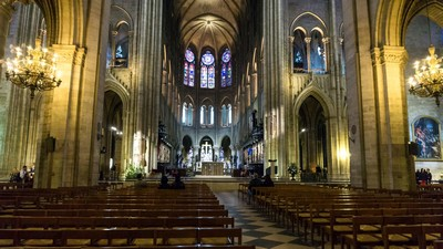 The Parisian Cathedral of the Rich, bench, nave, France, Paris - image
