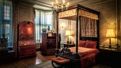 wardrobe, chandeliers, bedroom, window, curtains, shade lamps, carpet, bed - image
