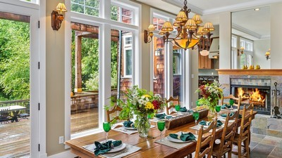 flowers, dining room, table, windows, chandelier