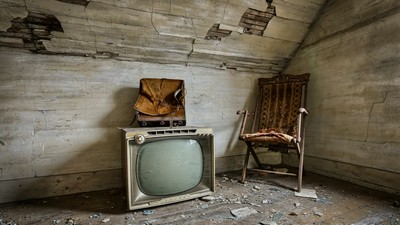 beautiful, tv, chair, attic - image